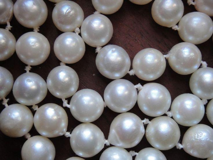 Akoya Salzwasser-Perle, 7,1 - 7,5 mm, Strang ohne Schließe, 58 cm, weiß-beige