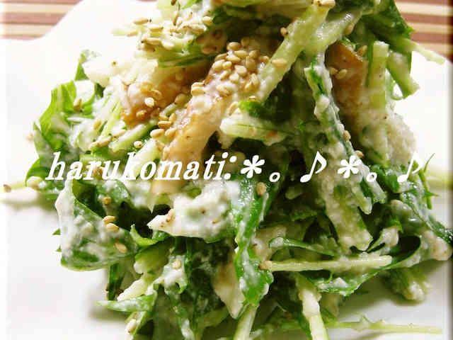お豆腐で水菜が美味しいサラダの画像