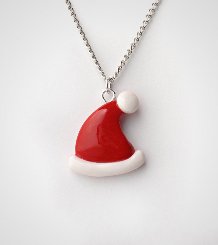 Santa Hat Necklace Pendant - Cute Christmas Holiday Polymer Clay. $13.50, via Etsy.