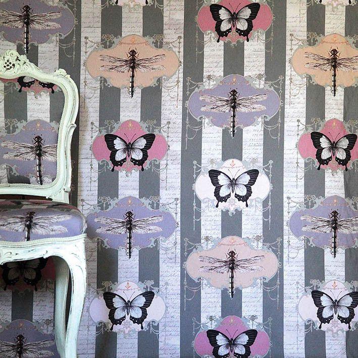 fabric 100% cotton dragonflies butterflies wonderfully eccentric fabric.