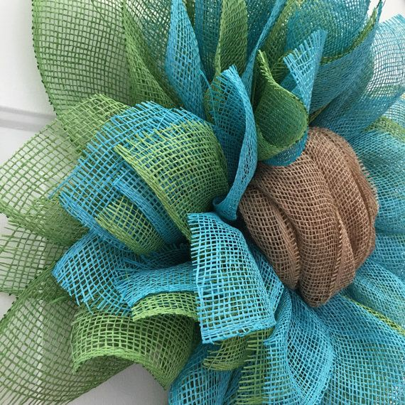 Sunflower Burlap Wreath Burlap Sunflower by JuliesWreathBoutique