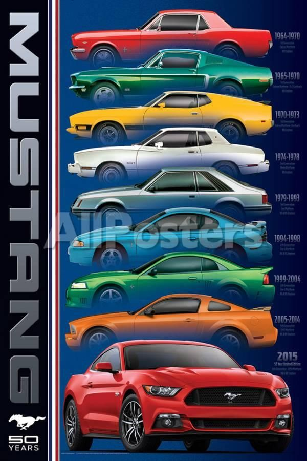 Ford Mustang 50 Years 9 Types Posters At Allposters Com For Me