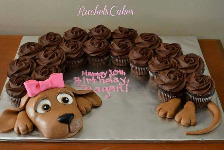 Puppy cake with cupcakes