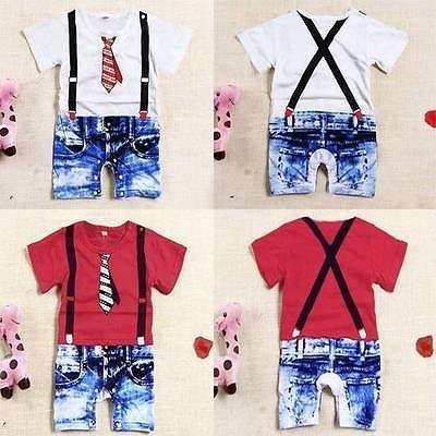 Bebe-Combinaison-Ete-Tops-Chemiser-Hauts-Short-Shirt-Combishort-Enfants-1-3-ans