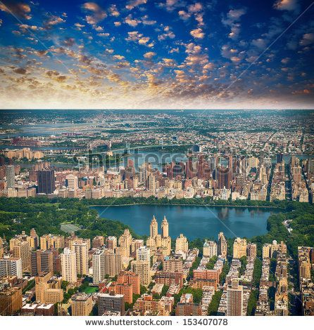 Wonderful aerial view of Central Park, Jacqueline Kennedy Onassis Reservoir and surrounding Manhattan  Skyscrapers, New York City. by pisaph...