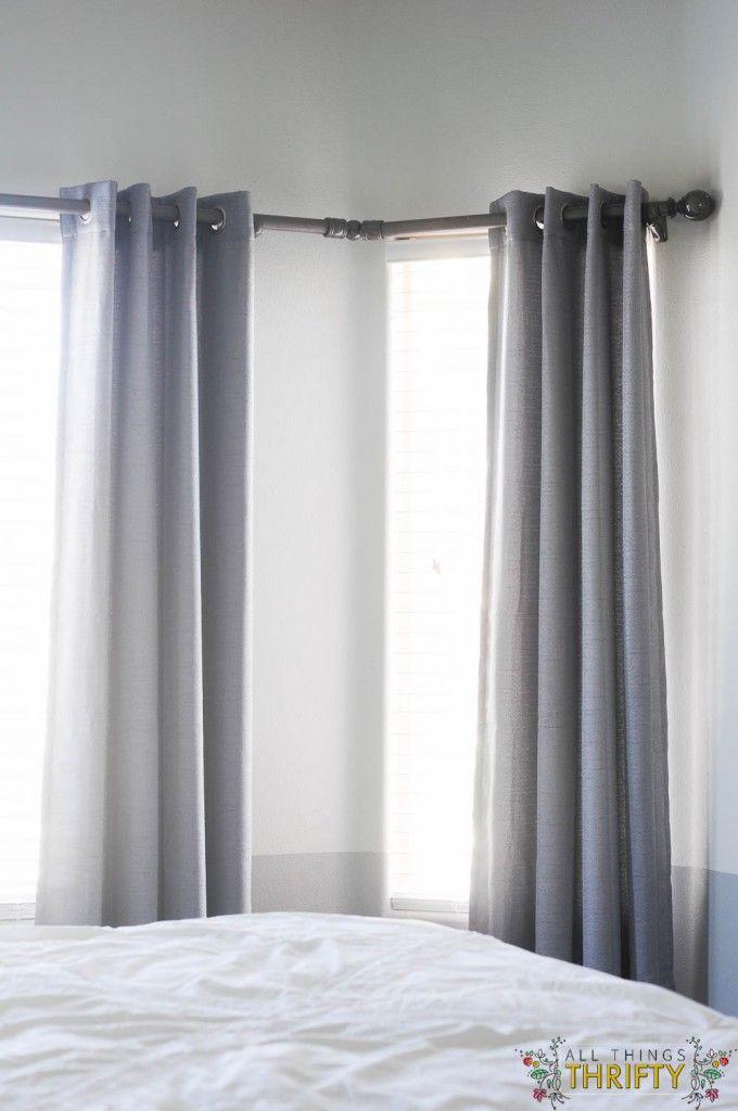 1000 ideas about corner window curtains on pinterest. Black Bedroom Furniture Sets. Home Design Ideas