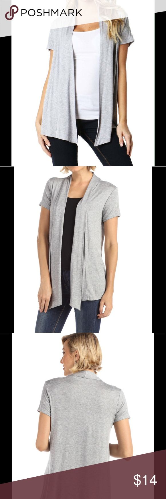 Short Sleeve Open Front Cardigan -GP10058 H grey 95% Rayon 5% Spendex GP Modo Sweaters Cardigans