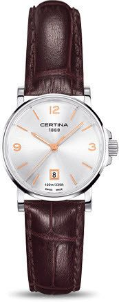 Certina Watch DS Caimano Lady Quartz #bezel-fixed #bracelet-strap-leather #brand-certina #case-material-steel #case-width-27mm #classic #date-yes #delivery-timescale-7-10-days #dial-colour-silver #gender-ladies #movement-quartz-battery #official-stockist-for-certina-watches #packaging-certina-watch-packaging #style-dress #subcat-ds-caimano #supplier-model-no-c017-210-16-037-01 #warranty-certina-official-2-year-guarantee #water-resistant-100m