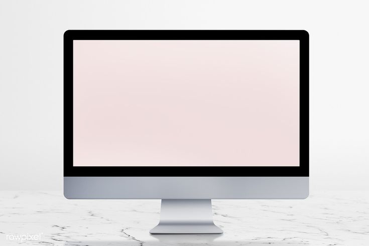 Download premium psd of Desktop computer with screen mockup on a white