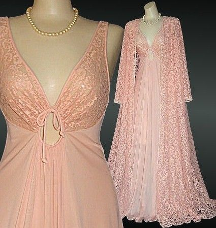 Vintage Olga Nightgown and Lace Peignoir Set