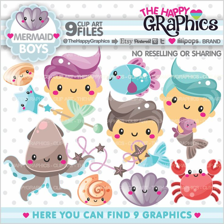 Mermaid Clipart, Mermaid Graphics, COMMERCIAL USE, Kawaii Clipart, Ocean Graphics, Under The Sea Clipart, Planner Accessories, Mermaid Boys