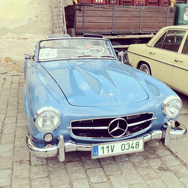 Mercedes-Benz 190SL ...SO close to the car i want, if it had walnut wooden veneer and cream leather interior and was a Jaguar... i regret not buying something simular on my student loan... Many many years ago now.