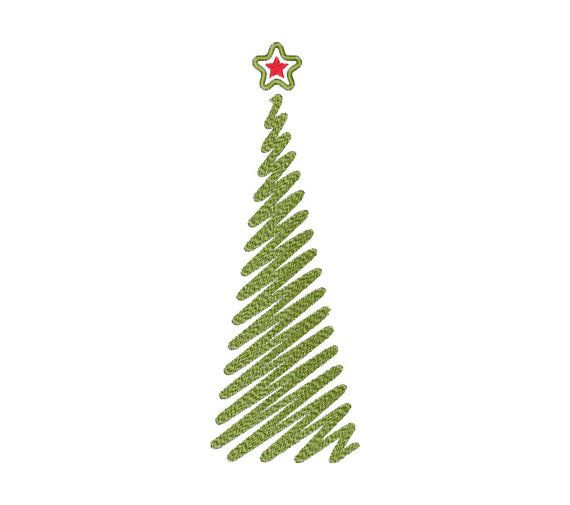 Christmas tree - Machine Embroidery Design - Instant Download - Three sizes, two variants