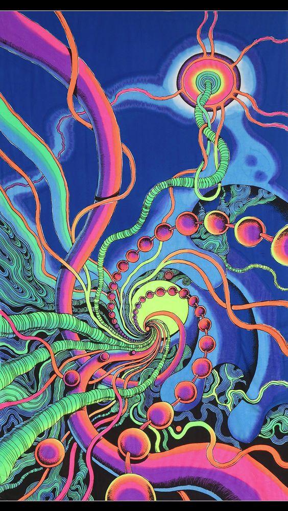 Batik UV Backdrop Spiral Threads Wandbehang 2m x 1,2m Hippie Goa Psy Tuch Kunst