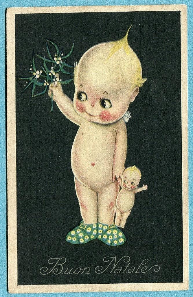 S7166 Kewpie doll postcard, Christmas Mistletoe, Kewpie with Kewpie doll | eBay