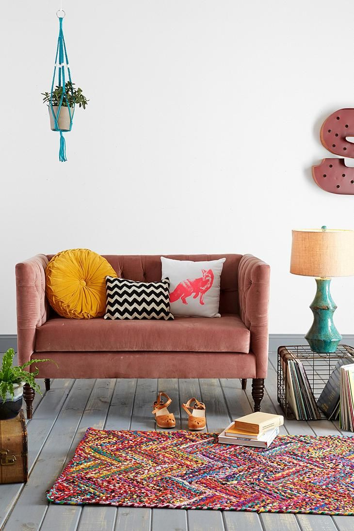 Turquoise, red, coral, mustard..  Plum & Bow Tufted Settee from Urban Outfitters. #urbanoutfitters