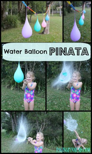 Water Balloon Piñata - great fun for kids with our pegless clothesline!