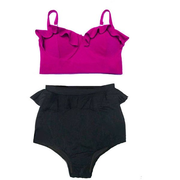 High Waisted Peplum Bikini Swimsuit Bikini Swim Bathing Suit Suits... ($40) ❤ liked on Polyvore featuring swimwear, bikinis, grey, women's clothing, high waisted bikini, retro bathing suits, swimsuits bikinis, retro high waisted bikini and high waisted retro bathing suits