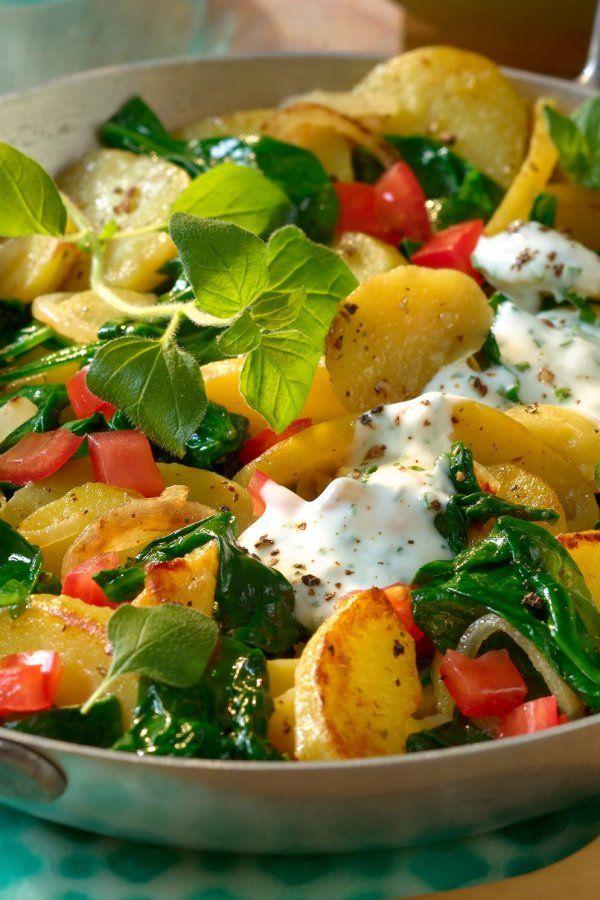 Leckere und leichte Spinat-Kartoffelpfanne   – Gesunde rezepte fitness