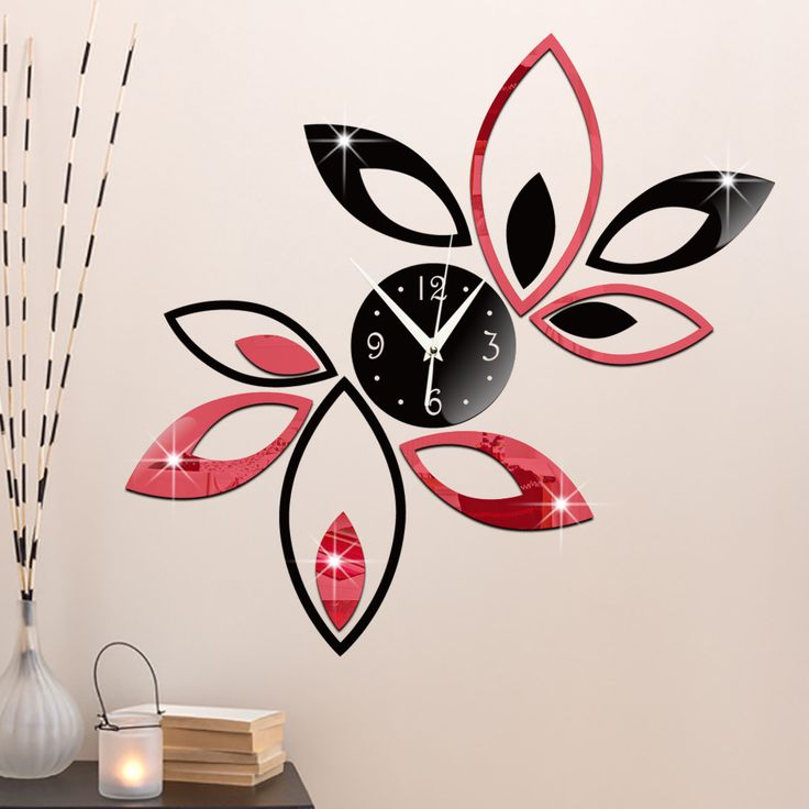 ... From China Decal Works Suppliers: Funlife Silver Creative Rhombus  Leaves Leaf Wall Clock Mirror Fashion Modern Removable DIY Acrylic Wall  Decal DIY