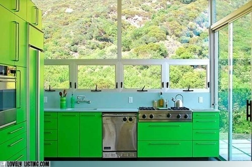 Green kitchen is...green.
