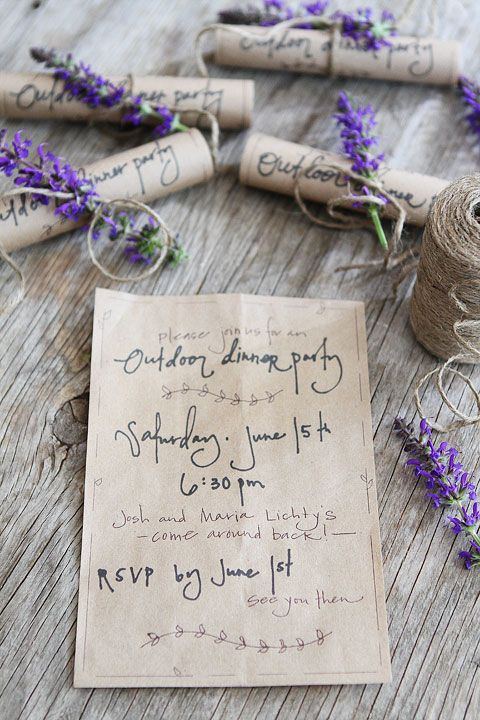 Summer Outdoor Dinner Party: brown paper bag invites