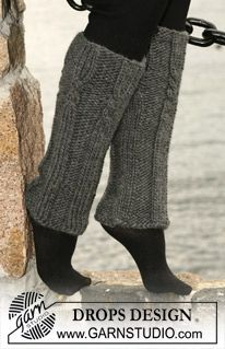 "Alex's legwarmers! DROPS legwarmers with cables and rib in ""Eskimo"" ~ DROPS Design"
