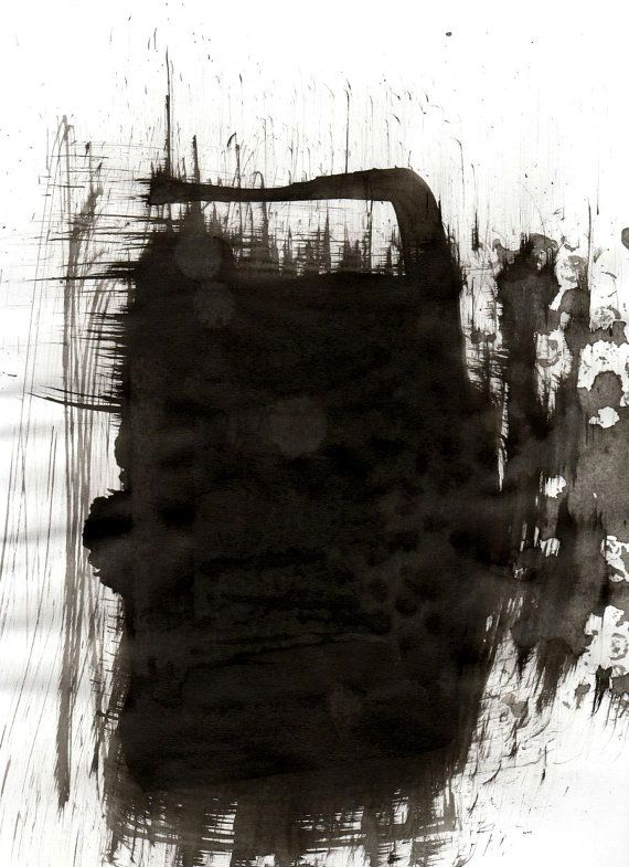 encre originale abstraite de dessin sur papier a4 mur en pierres encre noir noir et blanc. Black Bedroom Furniture Sets. Home Design Ideas