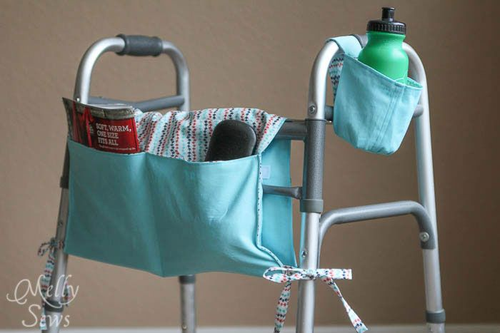 Need to make a walker tote or a walker pouch? Use this how to sew a walker caddy tutorial