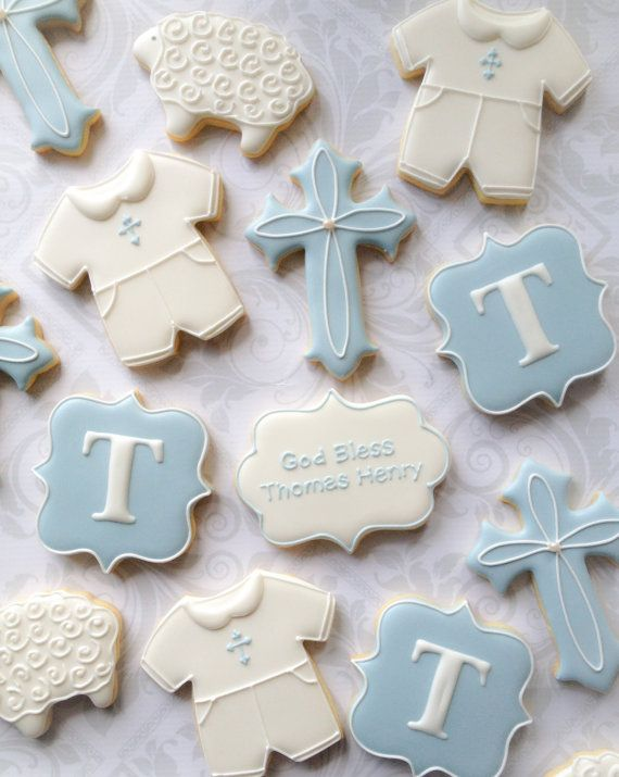 Elegant Baby Boy Baptismal Cookies  One Dozen 12 Blue and