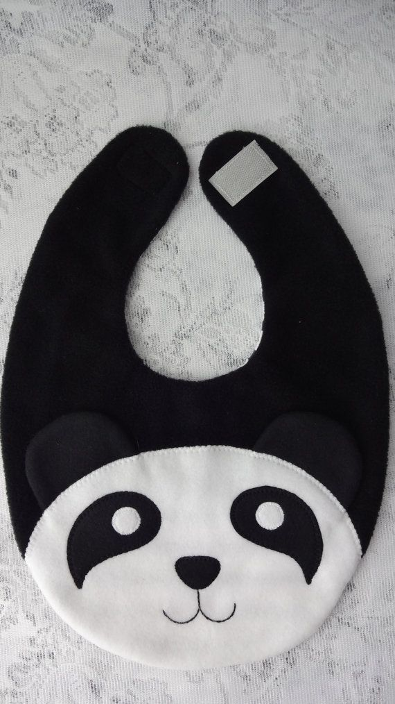 Panda Bib Infant Baby Bib Animal Fleece Bib Animal by DinkyDimples