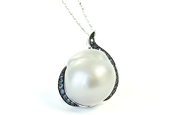 Sterling silver Australian South Sea pearl pendant set with blue sapphires