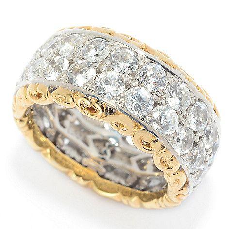 157-234 - Gems en Vogue 6.46ctw White Zircon Double-Row Eternity Band Ring
