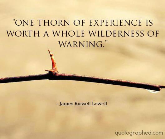 """One thorn of experience is worth a whole wilderness of warning."" - James Russell Lowell"