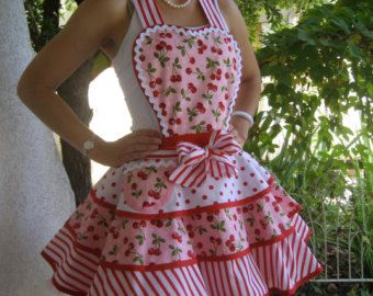 Cherries stripes with Dolls on top Womens Apron by ruffledfrenzy