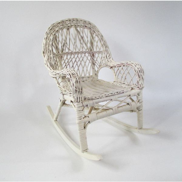 Miniature Wicker Rocker, Vintage White Mini Rocking Chair Doll... (€14) ❤ liked on Polyvore featuring home, outdoors, patio furniture, outdoor chairs, white wicker patio furniture, white wicker rocker, white rocking chair, white patio chairs and outdoor wicker chairs