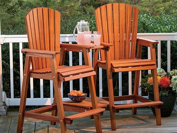 Full Plan Bar Height Adirondack Chair Outdoor