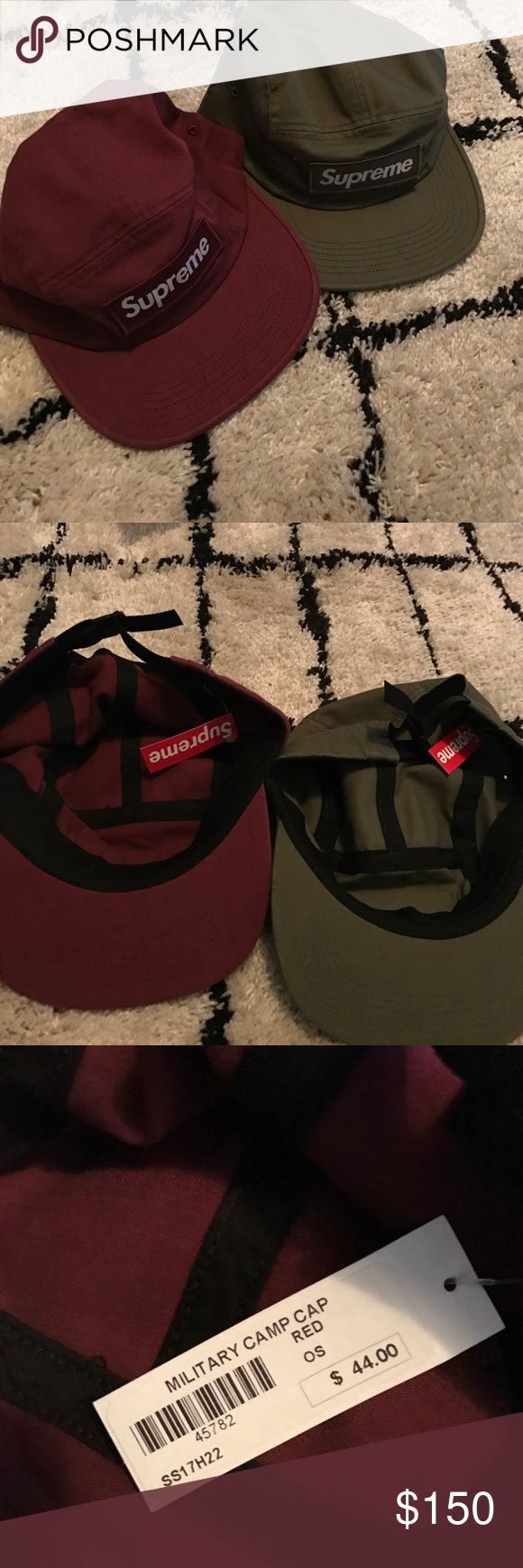 Supreme hats Selling two supreme hats wine and olive color never worn and still have shopping bag Supreme Accessories Hats
