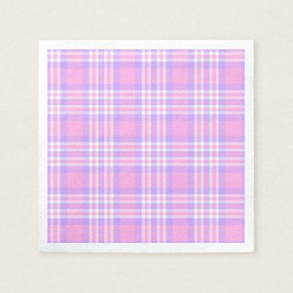 Pink Purple Lavender Plaid Gingham Check Girl Paper Napkin - girl gifts special unique diy gift idea