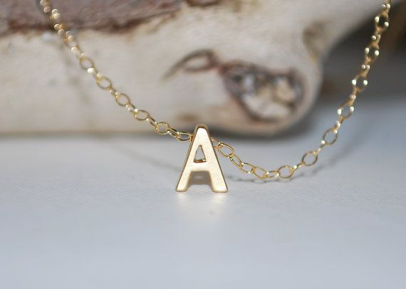 Initial necklace tiny letter necklace gold by KimMcCallJewelry