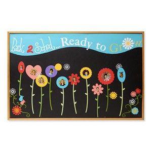 'Klaar om in het nieuwe schooljaar te groeien'. Op gele prinkbord bloemen maken (of door de leerlingen zelf) met daarin een pasfoto van de leerling. Boven de bloemen een gieter met daarop groep 7. Uit de gieter komen waterdruppels met daarop enkele vakken, zoals rekenen, Engels, taal, enz. Maar ook woorden als respect en behulpzaam zijn, zijn woorden die erbij horen.