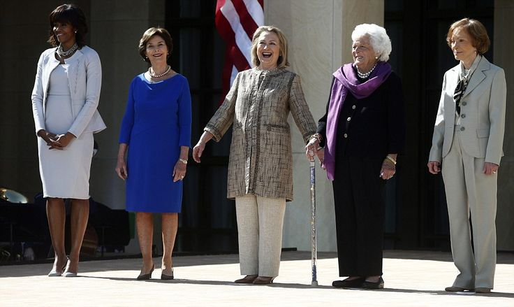 All in one place: From left, First Lady Michelle Obama and former first ladies Laura Bush, Hillary Clinton, Barbara Bush and Rosalynn Carter