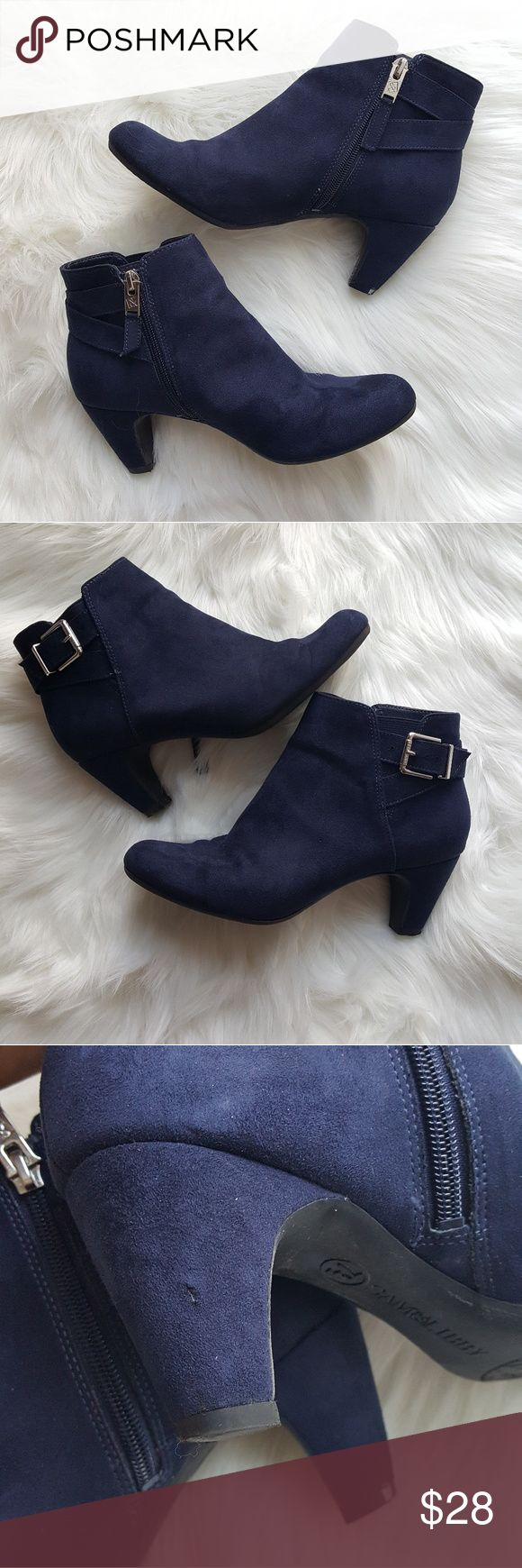 Sam & Libby blue suede booties sz 7 1/2 Sam & Libby blue suede booties sz 7 1/2 Excellent condition  Some minor signs of wear on heels as shown in pictures. None that take away from the beauty of boot while wearing. Sam & Libby Shoes Ankle Boots & Booties