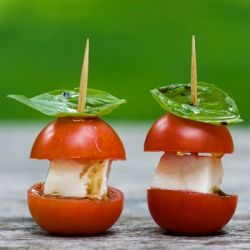 Cherry tomatoes, mozzarella cheese and basil give you the taste of caprese salad all in one adorable bite!