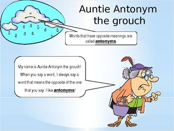Silly Synonym and Auntie Antonym Powerpoint *Silly Synonym the cat and Auntie Antonym the grouch are here to help your students understand the difference between synonyms and antonyms!*