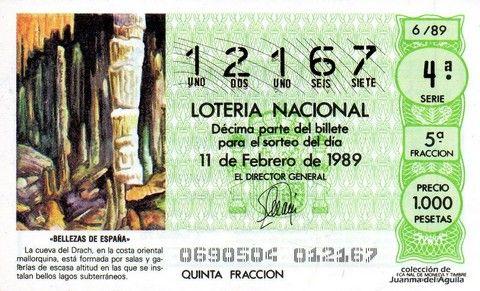 Décimo Del Sorteo Extraordinario De Lotería De San Valentin Celebrado El 11 De Febrero De 1989 Coleccionismo Loteria Col Lotería Nacional Lotería Sorteo