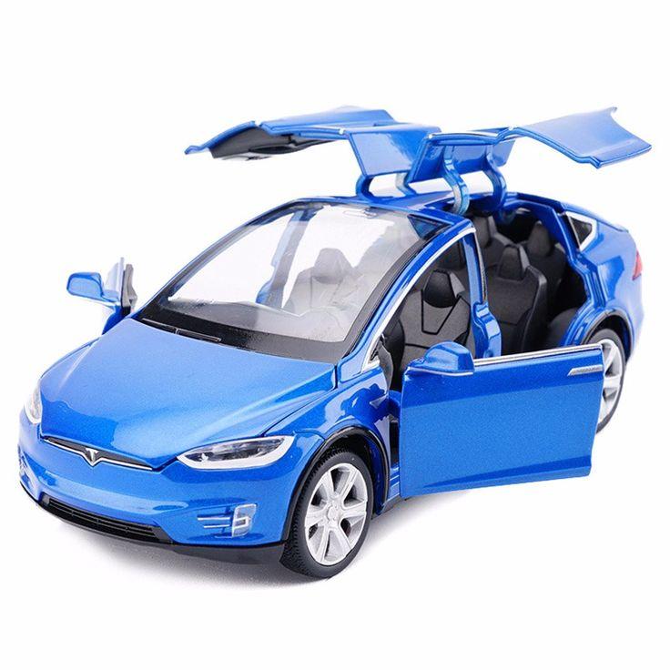 Haute Simulation 1:32 Alliage Modele De Voiture Tesla MODeLE X90 Metal modeles reduits Vehicules Jouets Pull Back Clignotant Sonores Enfants Jouet Livraison gratuite