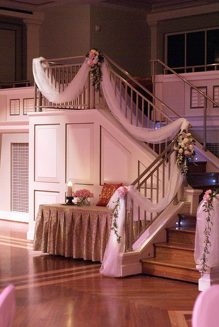 Tulle & Flower Bannister Swag by Angela Sadler, an independent wedding & special occasion floral designer.