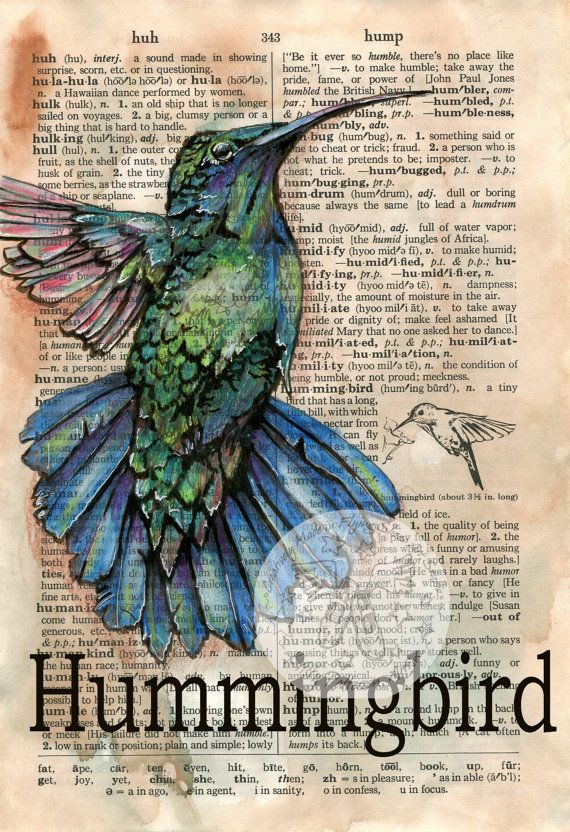 PRINT:  Hummingbird Mixed Media Drawing on Distressed, Dictionary Page