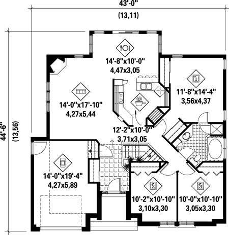 First Floor Plan of House Plan 52482